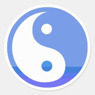 Blue and White Taijitu Yin Yang Symbol Classic Round Sticker