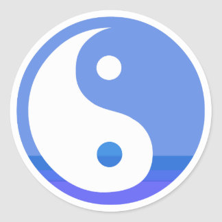 Blue and White Taijitu Yin Yang Symbol Round Sticker