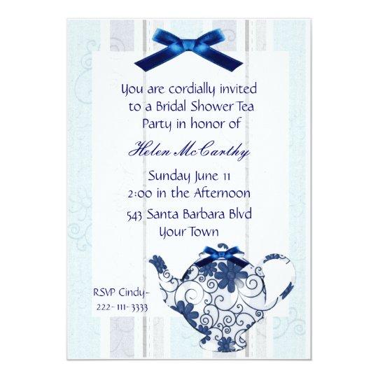 Blue and White Tea Party Bridal Shower Invitation | Zazzle
