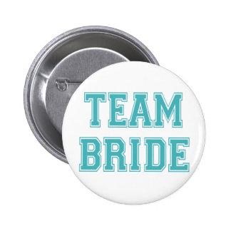 Blue and White Team Bride 2 Inch Round Button
