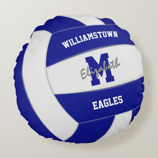 blue and white team colors kids volleyball round pillow