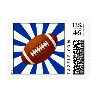 Blue and White Team Colors Retro Football Postage Stamp