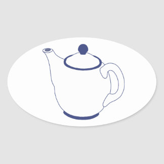 Blue and White Teapot Oval Sticker