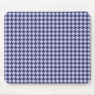 Blue and White Textured Houndstooth Pattern Mouse Pad