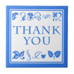 Blue and White Thank You Arts and Crafts Ceramic Tiles
