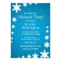 Blue and White Theme Christmas Party Invitation