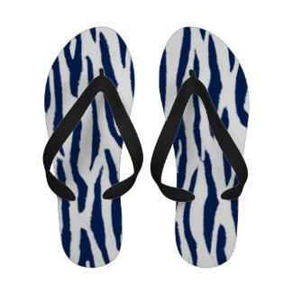 Blue and White Tiger Print Flip Flops