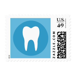 Blue and white tooth logo dentist dental modern postage