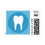 Blue and white tooth logo dentist dental modern postage stamp