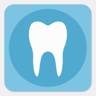 Blue and white tooth logo dentist dental modern square sticker