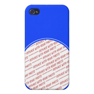 Blue and White Trimmed Photo Template iPhone 4 Case