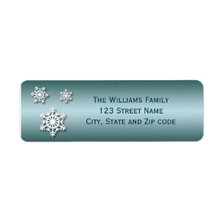 Blue and White Trio of Snowflakes Return Address Labels