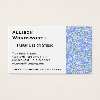 Blue and White Tudor Damask Floral Business Card