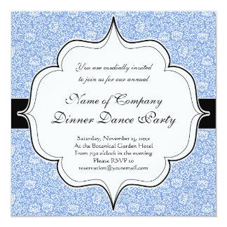 Blue and White Tudor Damask Floral Card