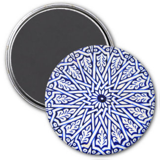 Blue and White Turkish Tile Pattern Magnet