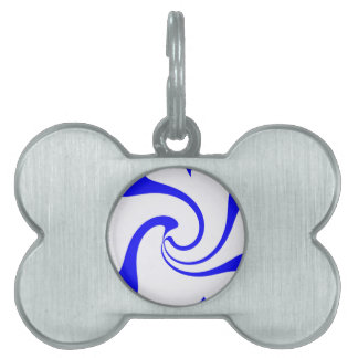 Blue and White Twist Pet ID Tag