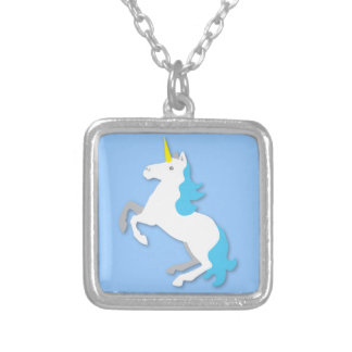 Blue and white unicorn silver plated necklace