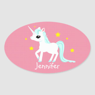 Blue and white Unicorn stars customisable Oval Sticker