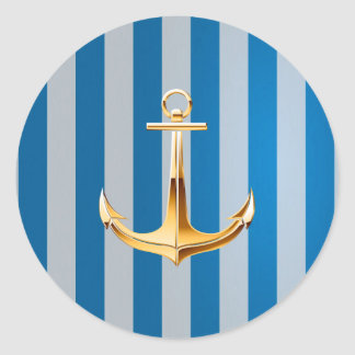 Blue and White  Vertical Lines and Gold Anchor Classic Round Sticker