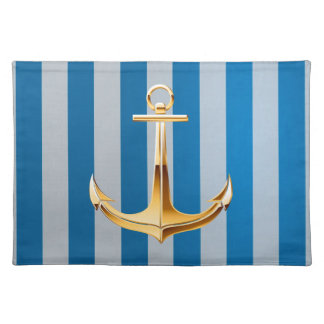 Blue and White  Vertical Lines and Gold Anchor Cloth Place Mat
