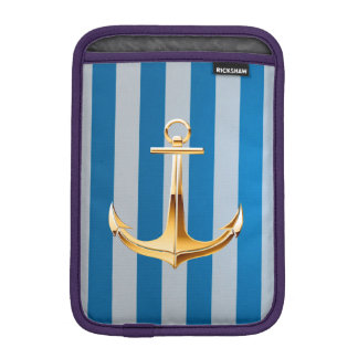 Blue and White  Vertical Lines and Gold Anchor iPad Mini Sleeve