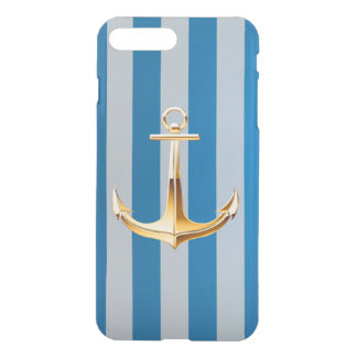 Blue and White Vertical Lines and Gold Anchor iPhone 7 Plus Case