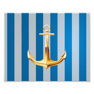 Blue and White  Vertical Lines and Gold Anchor Photo Print