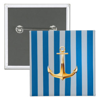 Blue and White  Vertical Lines and Gold Anchor Pinback Button