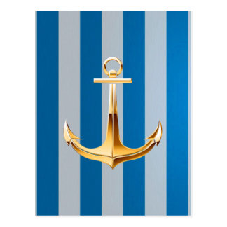Blue and White  Vertical Lines and Gold Anchor Postcard
