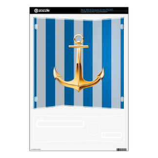 Blue and White  Vertical Lines and Gold Anchor Xbox 360 S Skins