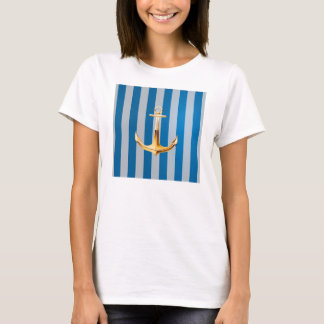 Blue and White  Vertical Lines and Gold Anchor T-Shirt
