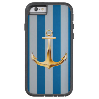 Blue and White  Vertical Lines and Gold Anchor Tough Xtreme iPhone 6 Case
