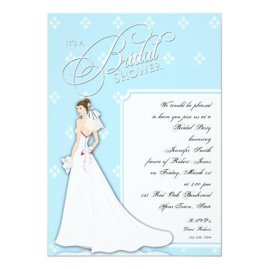 Blue and White Vintage Bridal Shower Invitation