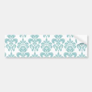 Blue and White Vintage Damask Pattern 2 Bumper Sticker