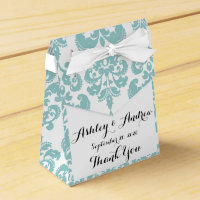 Blue and White Vintage Damask Pattern 2 Favor Box