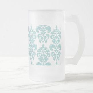 Blue and White Vintage Damask Pattern 2 Frosted Glass Beer Mug