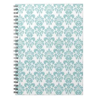 Blue and White Vintage Damask Pattern 2 Spiral Notebook