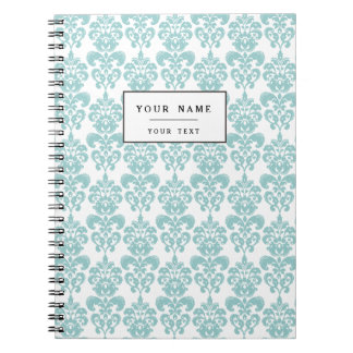 Blue and White Vintage Damask Pattern 2 Spiral Notebooks