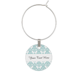 Blue and White Vintage Damask Pattern 2 Wine Glass Charms