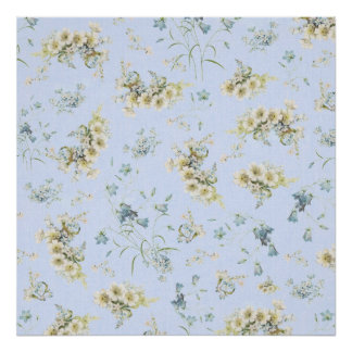 Blue and white vintage floral print