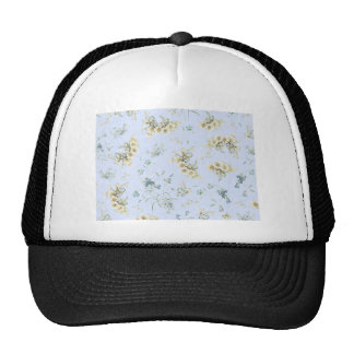 Blue and white vintage floral print mesh hat