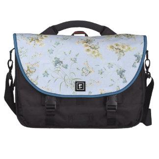 Blue and white vintage floral print laptop messenger bag