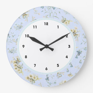 Blue and white vintage floral print large clock