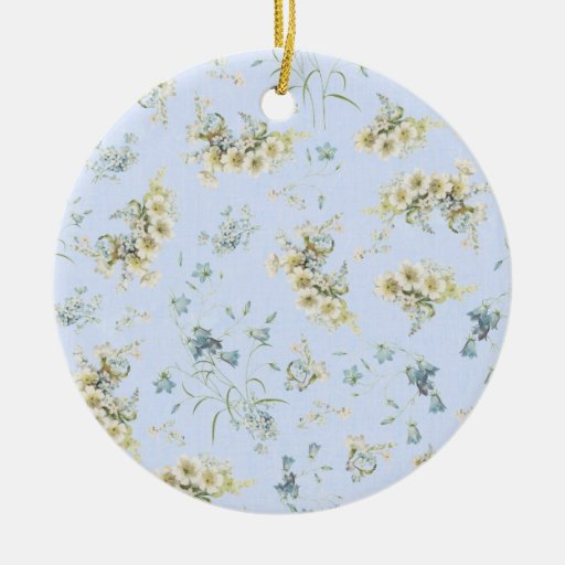 Blue and white vintage floral print christmas tree ornament