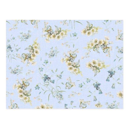 Blue and white vintage floral print postcard