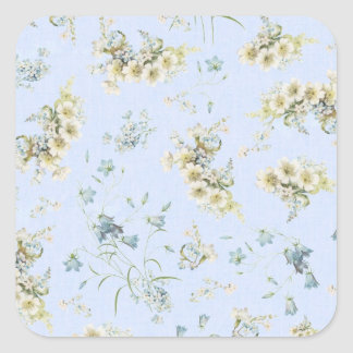 Blue and white vintage floral print square stickers