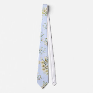 Blue and white vintage floral print tie