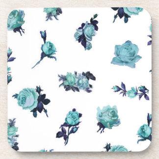 Blue and White Vintage Floral Roses Beverage Coaster