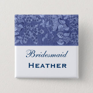 Blue and White Vintage Flowers Bridesmaid Pinback Button