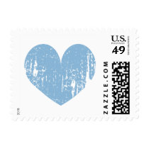 Blue and white vintage heart wedding stamps